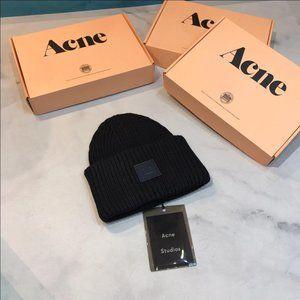 Acne Studios Rib Knit Beanie Hat - Black